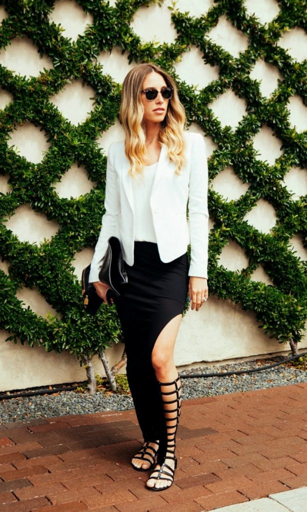 white blazer with split maxi skirt bmodish