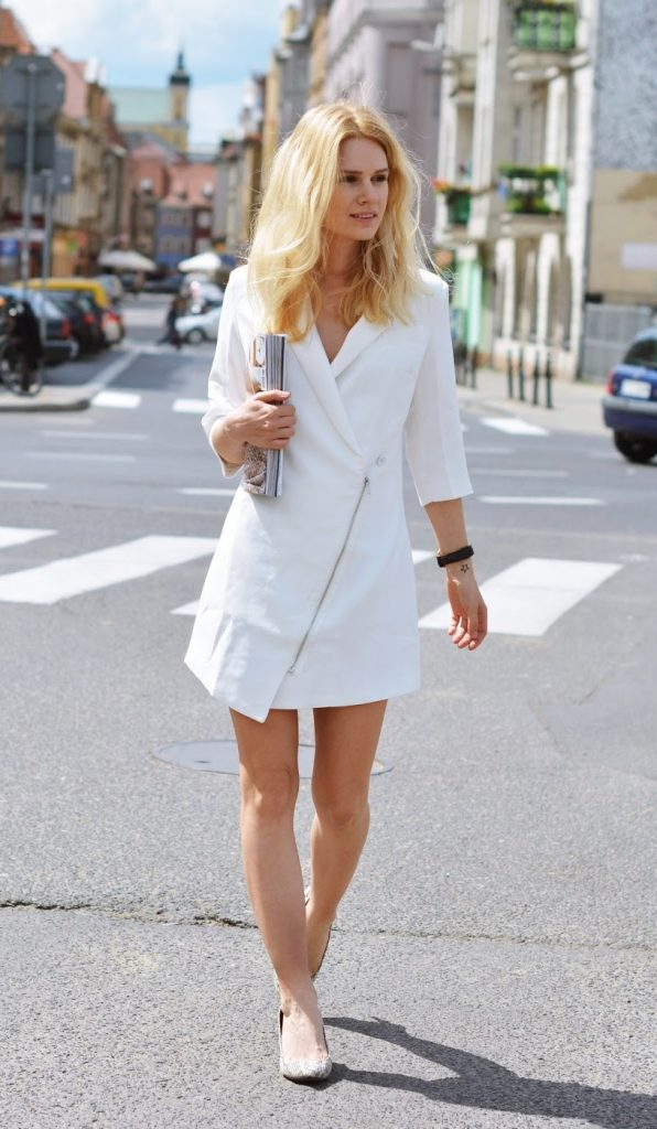 white elegance blazer dress bmodish