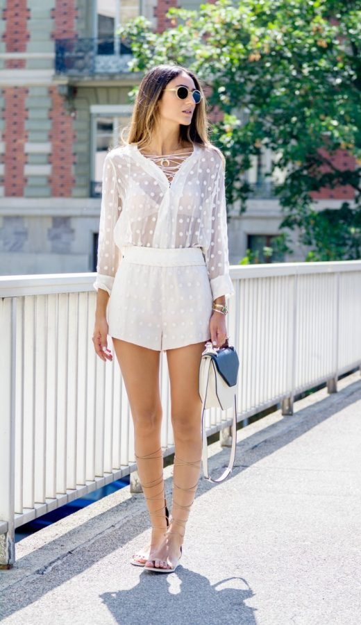 white sheer romper and gladiator sandals bmodish