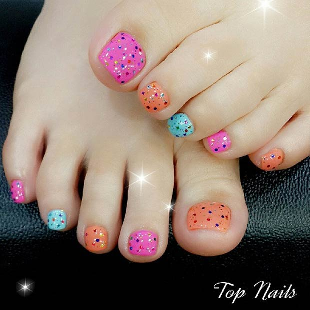 colorful glitter toenail design bmodish