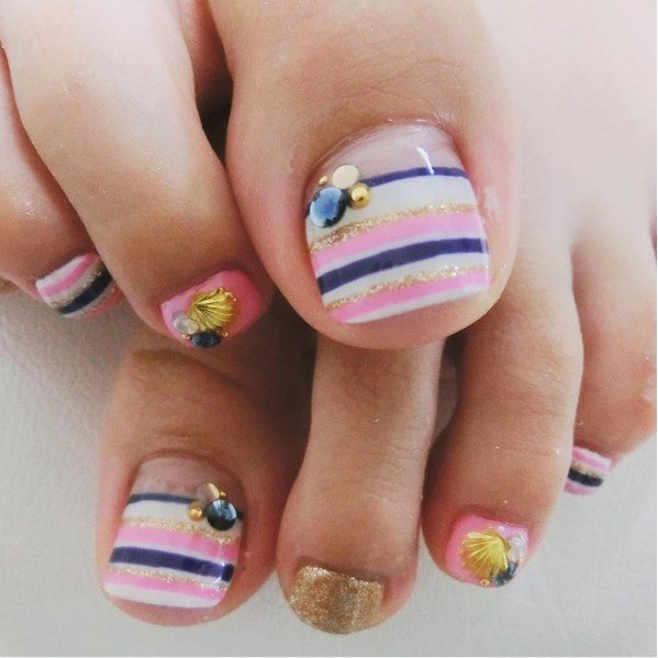 colorful stripe summer toenail bmodish
