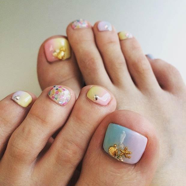 pastel beach toenails bmodish