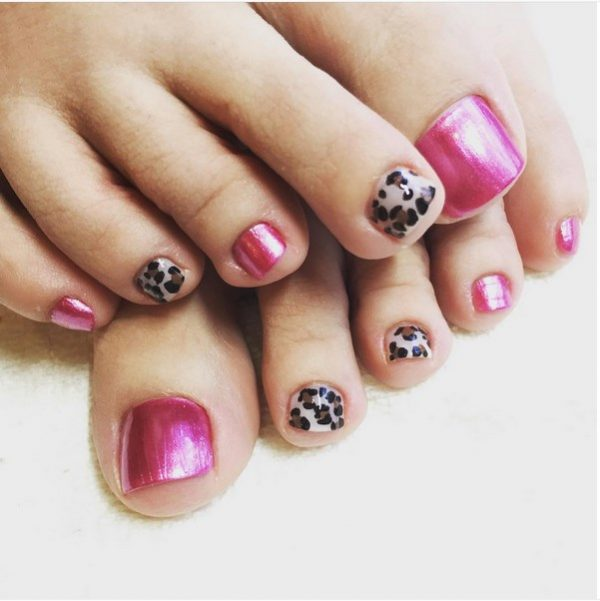 pink and leopard toenail design bmodish