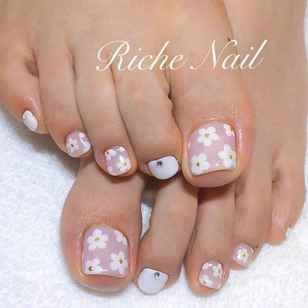 white daisies toenails bmodish