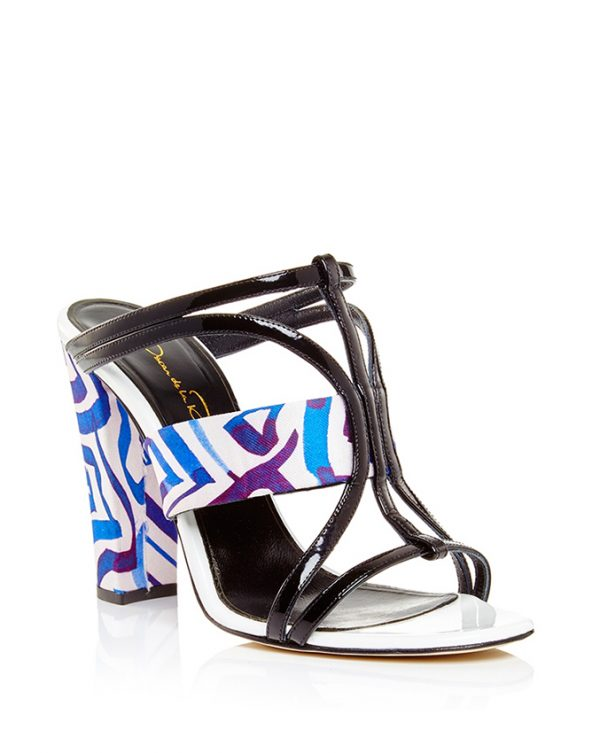 Oscar de la Renta Lonni Sandal in Marine Mikado Silk and Patent Leather bmodish