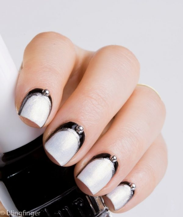 Black and White Ruffian Manicure 2 bmodish