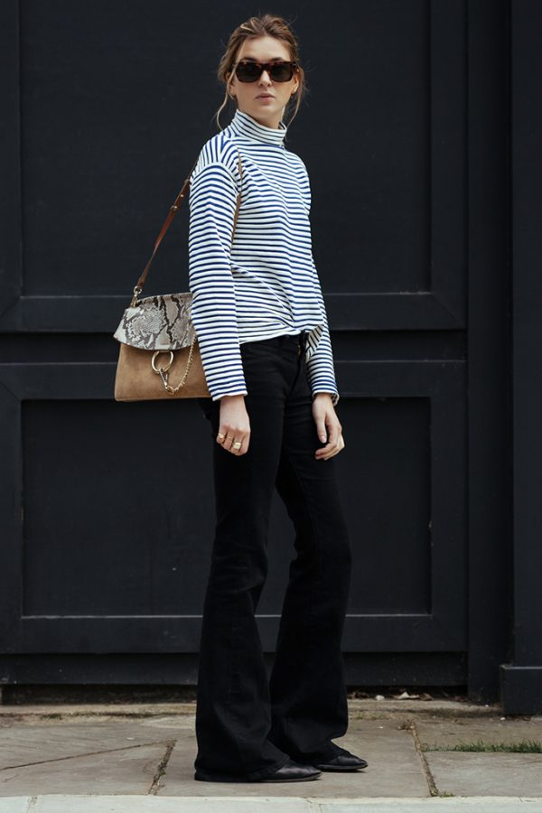 Finery London Look black flare with striped turtleneck shirt bmodish