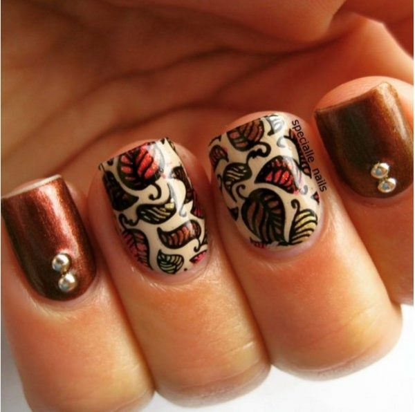 autumnal leave brown fall nail art bmodish
