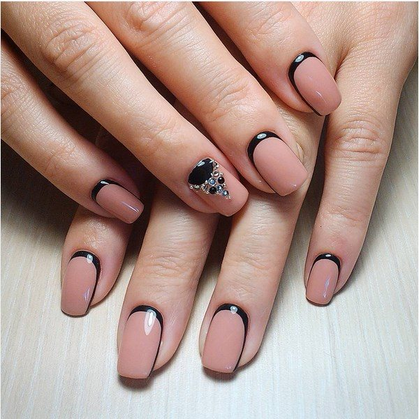 black and nude embellished ruffian nail art bmodish