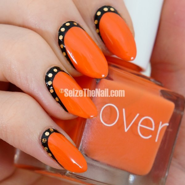 black and orange ruffian nails bmodish