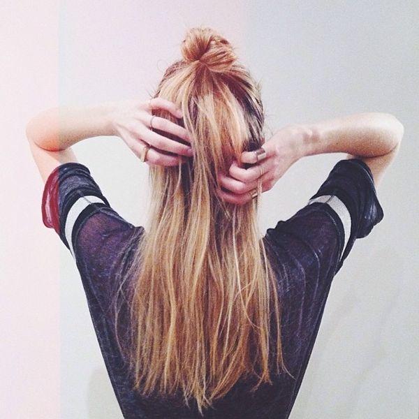 blonde hair half up half down top knot bmodish