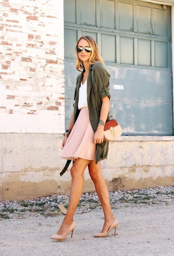 blush pleated skirt khaki green trench late summer outfit bmodish