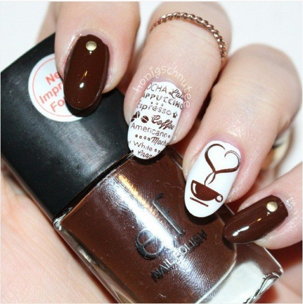 brown coffee mocca nail art bmodish
