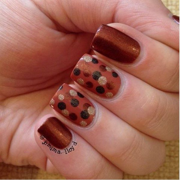 brown dotticure nail design bmodish