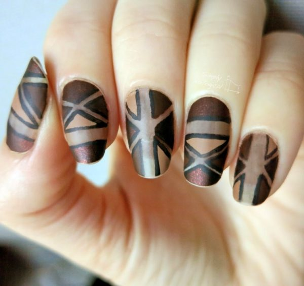 brown geometric triangles nail design bmodish