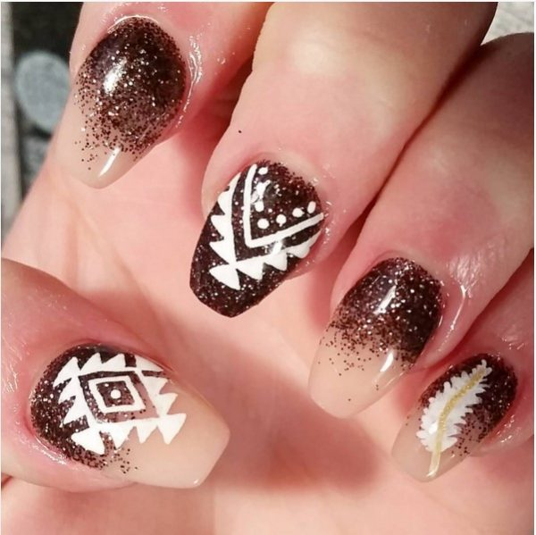 brown gradient glitter nail art bmodish