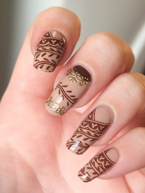 30 crispy and fun brown nail designs be modish brown henna tattoo nail design bmodish prinsesfo Image collections