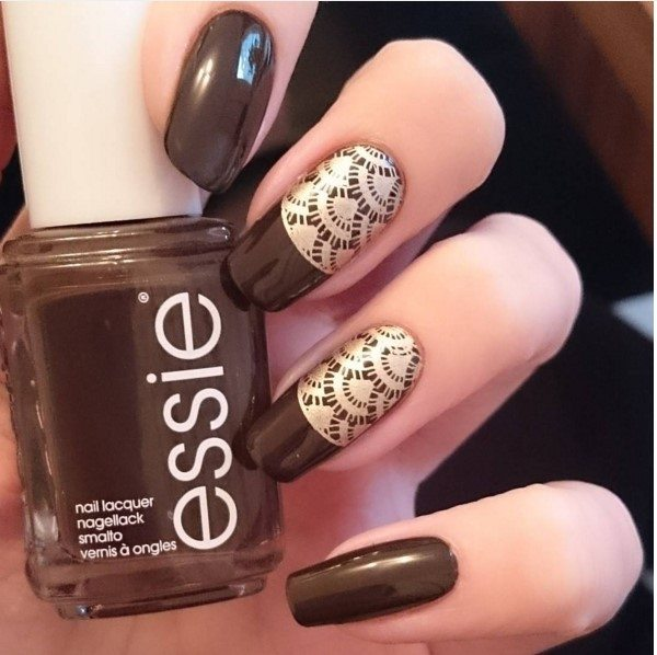 brown lace stamping nails bmodish