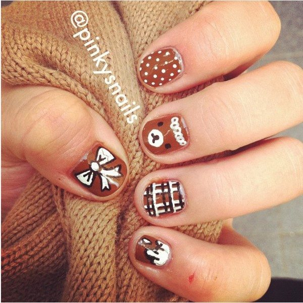 30 crispy and fun brown nail designs be modish brown teddy bears and bow nail art bmodish prinsesfo Image collections