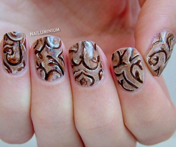 brown woodscarving nail design bmodish