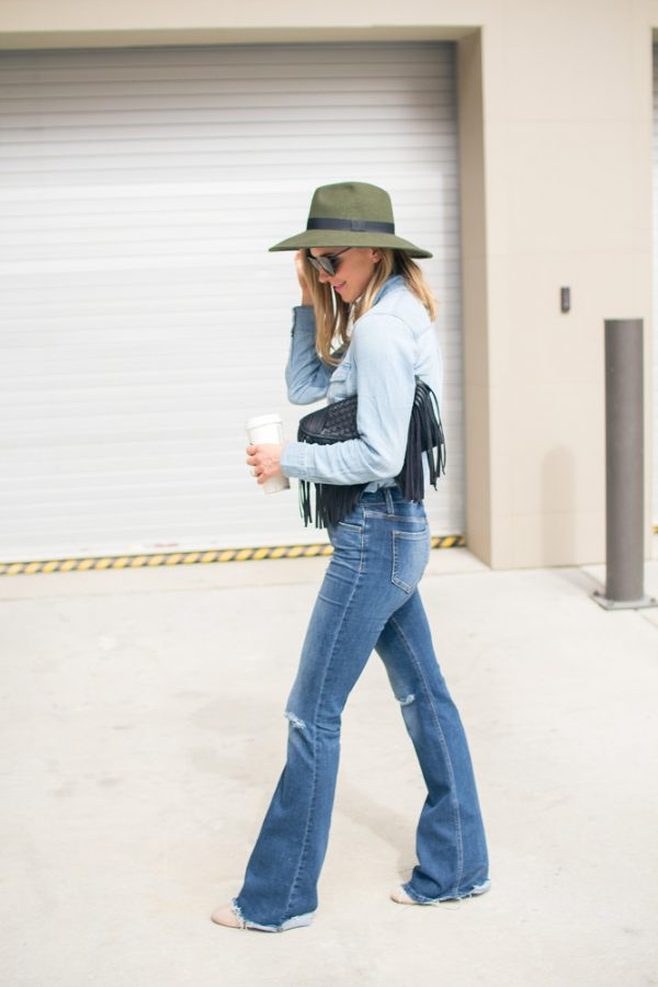 casual flare jeans outfit bmodish