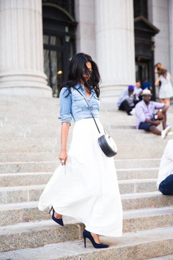 chambray with white skirt bmodish