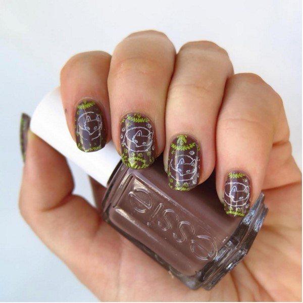 cute fox brown nail art bmodish