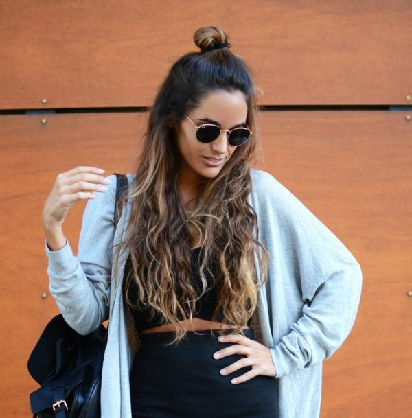cute half up top bun hairstyle bmodish