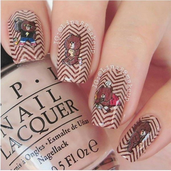 cute teddy bear brown chevron nail art bmodish