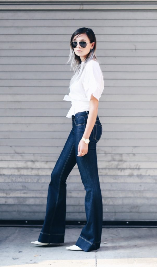 dark blue flare jeans bmodish