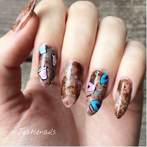 donut and coffee brown manicure bmodish