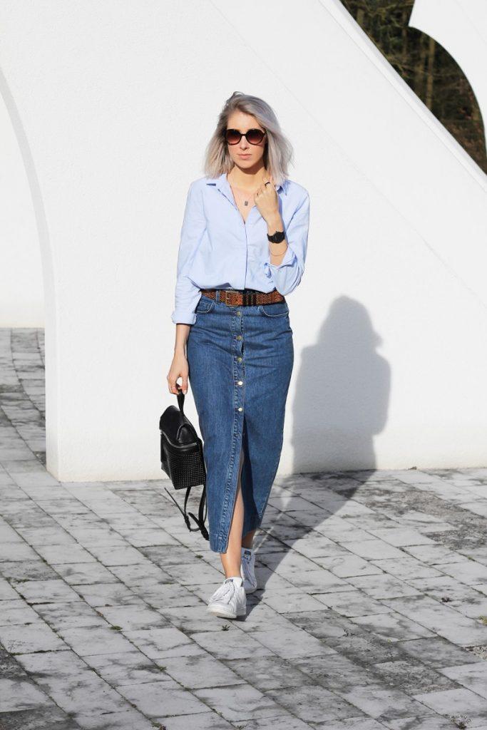 double denim button long skirt bmodish