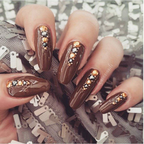 embellished brown nail art bmodish
