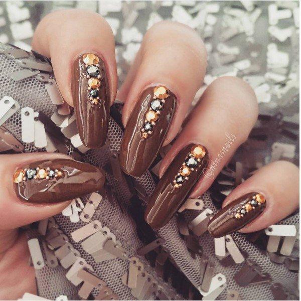embellished brown nail art bmodish