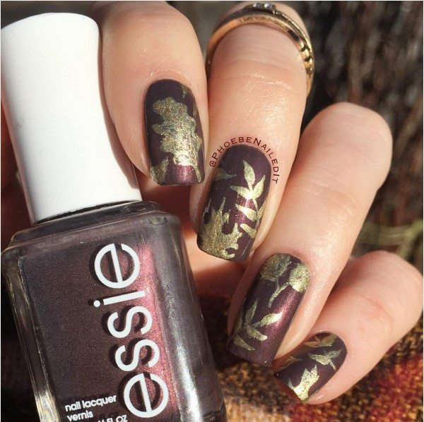 fall leave glossy brown nail art bmodish