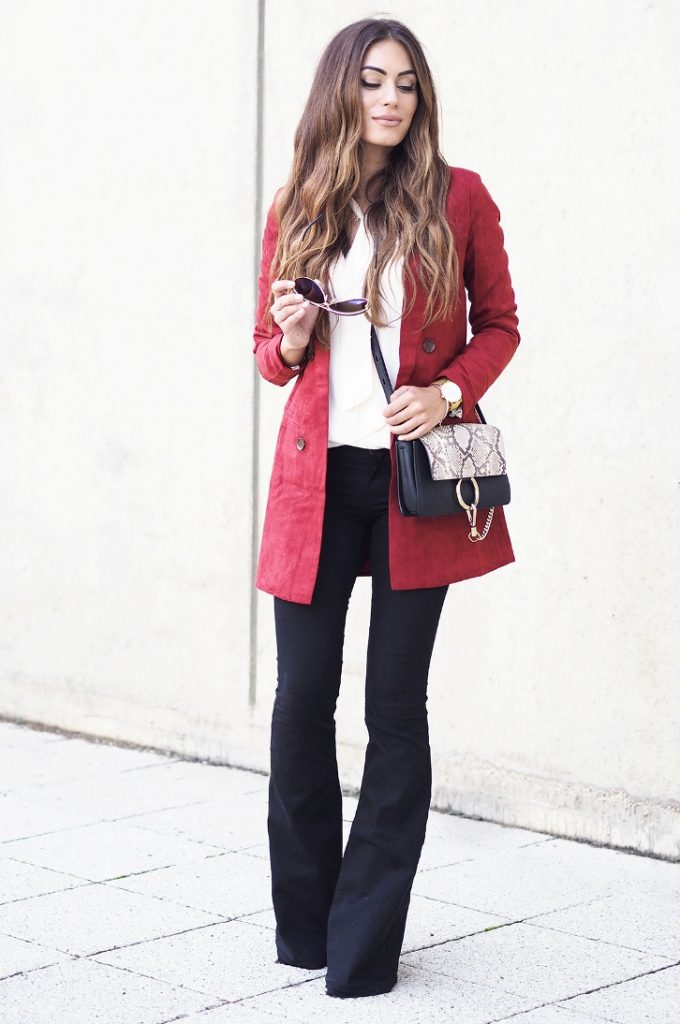 flare with burgundy blazer coat bmodish