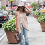 flare with neutral vest outfit bmodish