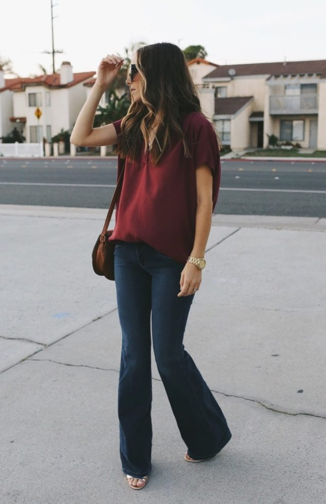 flared denim with burgundy top bmodish