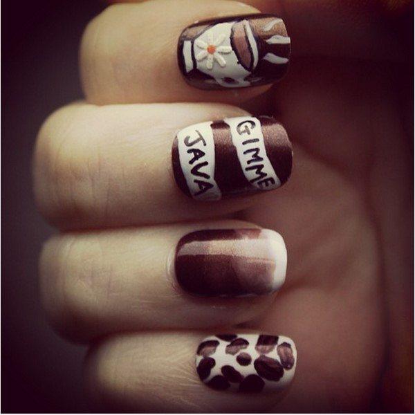 gimme java brown coffee cute nail art bmodish - 30 Crispy And Fun Brown Nail Designs - Be Modish
