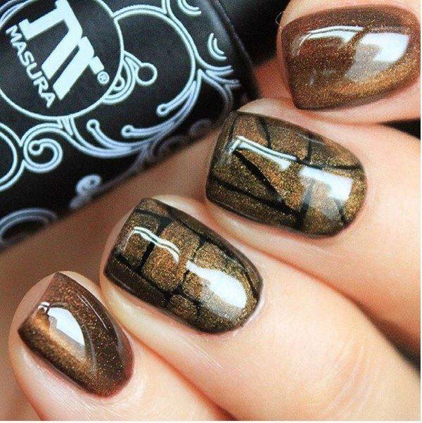 glossy brown nail art bmodish