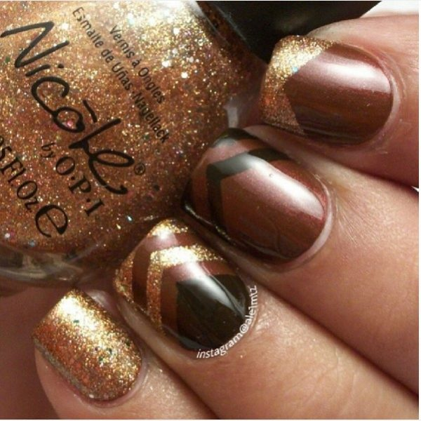 gold and brown nail art bmodish