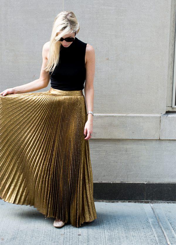 gold pleated long skirt bmodish