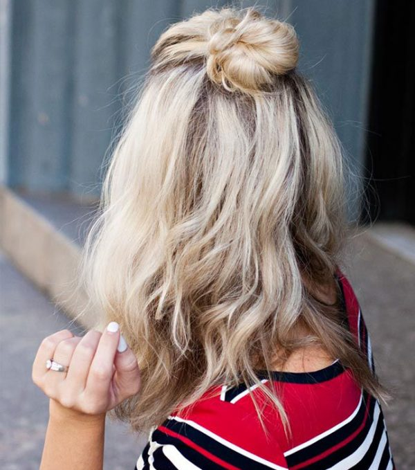 half up top knot short hair bmodish