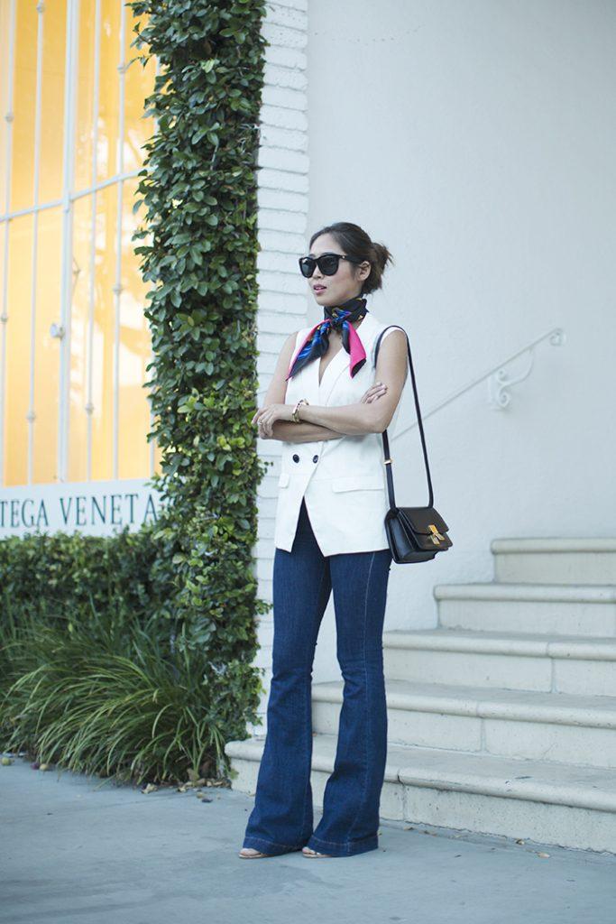 hermes scarf madewell vest flare jeans bmodish