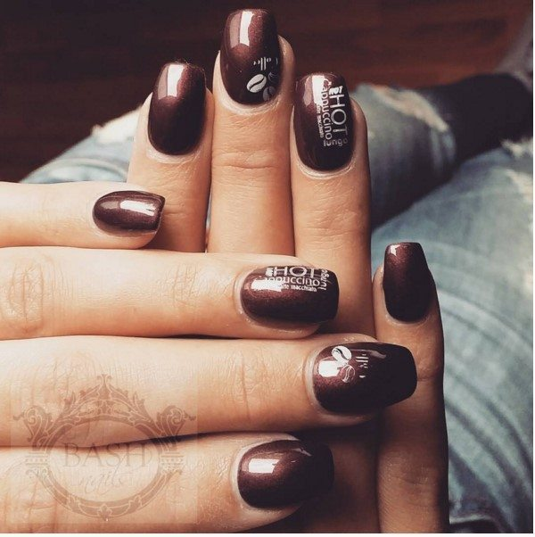 hot cappuccino brown nail art bmodish