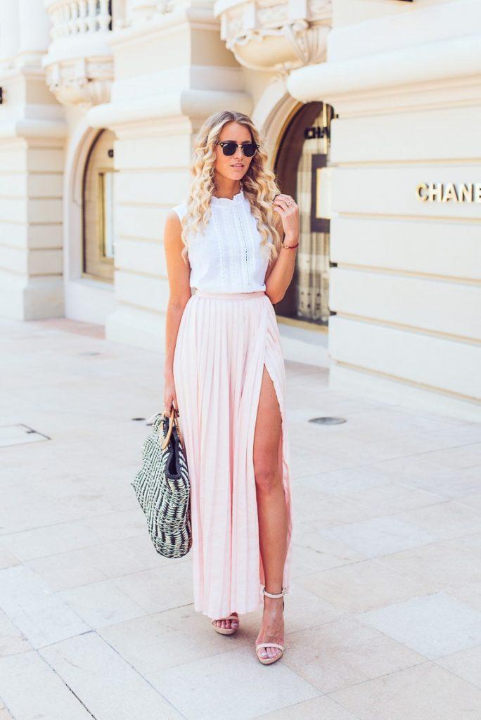 blush colors long skirt maxi skirt bmodish