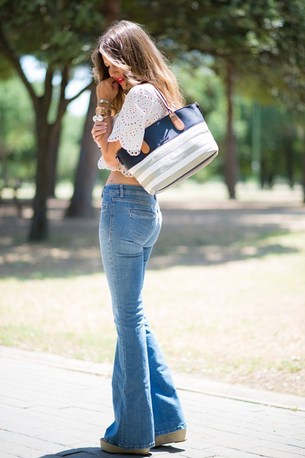 jeans flared with crop top bmodish