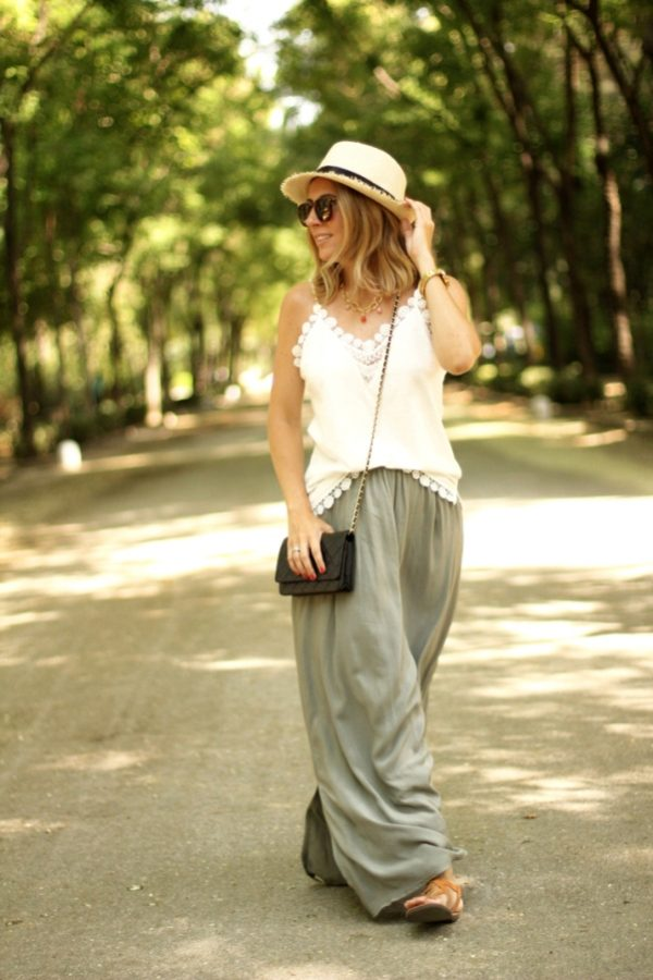 khaki long skirt outfit bmodish