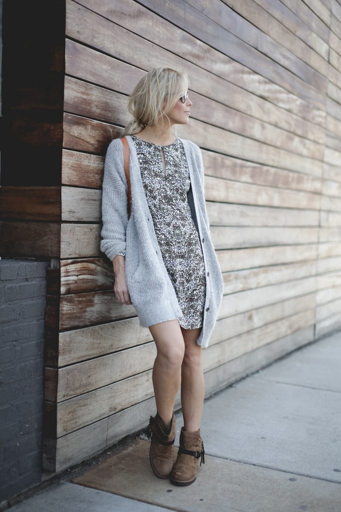 long cardigan dress and boots bmodish