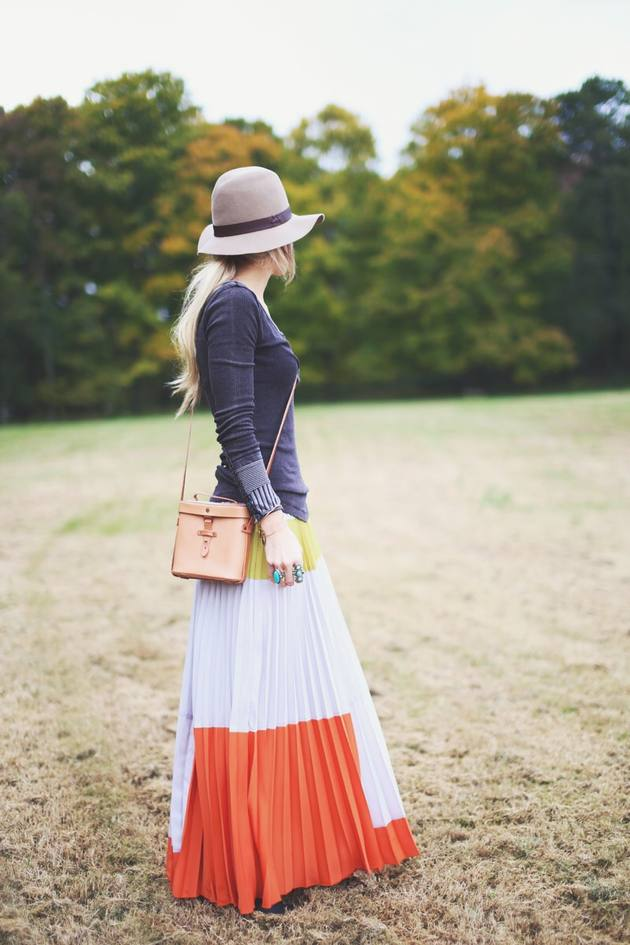 long pleated skirt chic outfit bmodish